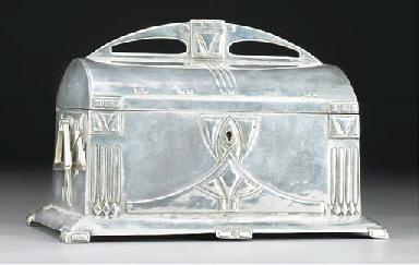 A SILVERED METAL TRINKET BOX