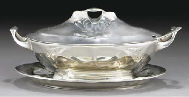 A SILVERED METAL TUREEN AND CO