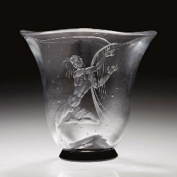 'Harp Player' An etched glass