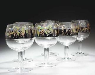 A set of six enamelled glasses