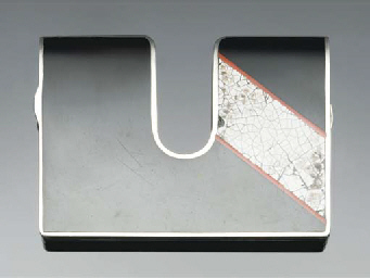A silver, lacquer and eggshell