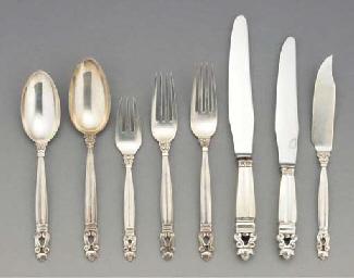 'Acorn' or 'Konge' A silver pa