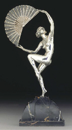 'Fan Dancer' A silvered bronze