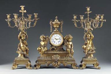 A Napoleon III ormolu three-pi