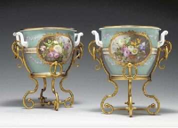 A PAIR OF SEVRES PALE-BLUE GRO