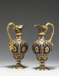 A PAIR OF COPELAND 'JEWELLED' COBALT-BLUE GROUND EWERS