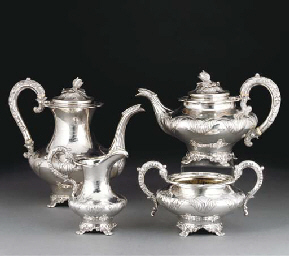 A WILLIAM IV FOUR-PIECE SILVER