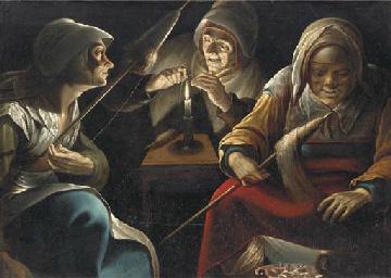 Three women working wool