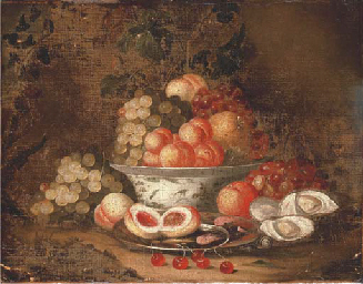 Grapes, peaches and a pomegran