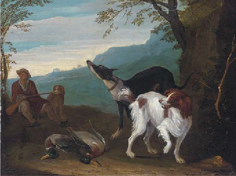 A wooded landscape with a hunt