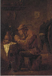 A peasant smoking in a tavern