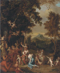 A bacchanal with nymphs, satyr