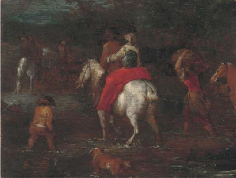 Travellers fording a river: a