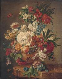 Roses, tulips, morning glory,