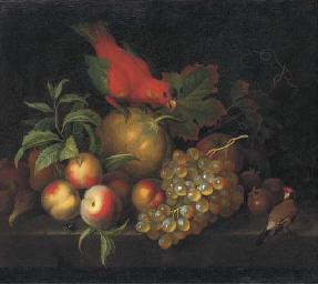A melon, peaches, grapes, medl