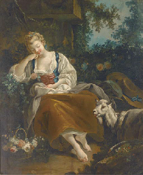 A shepherdess resting in a woo