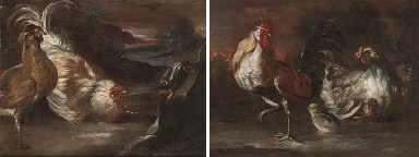 A cockerel, a chicken and chic