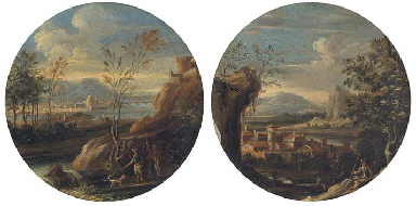 A river landscape with peasant