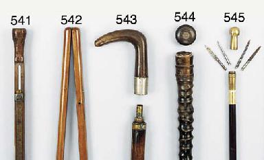 A brass mounted hardwood 'gadg