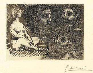 Femme nue assise et Trois Tête