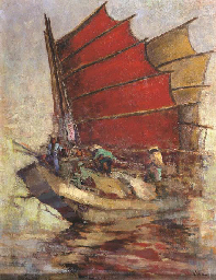 A Chinese junk with cargo