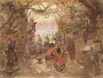 Balinese girls preparing offer