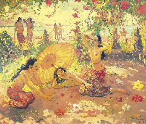 Balinese ladies in the garden