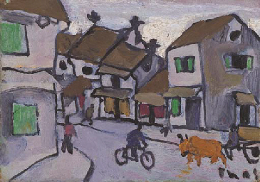 Street scene with cyclist and