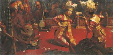 Dancer with Gamelan orchestra