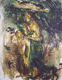 Balinese girl and child with o