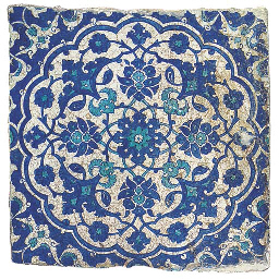 AN IZNIK BLUE, TURQUOISE AND W