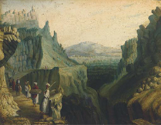 Travellers on a mountain pass