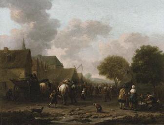 A village landscape with trave