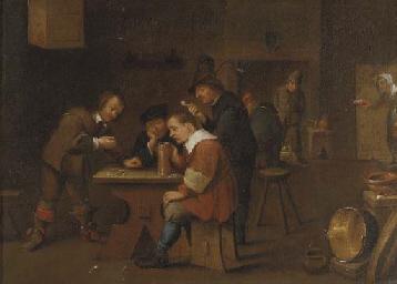 Peasants playing dice, smoking