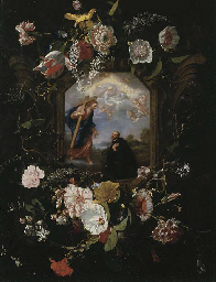 A floral garland surrounding a