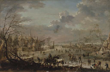 A winter landscape with villag