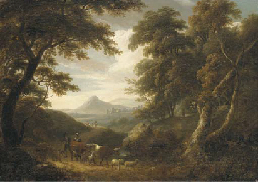 A wooded landscape, with figur