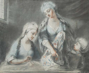Figures sewing in an interior