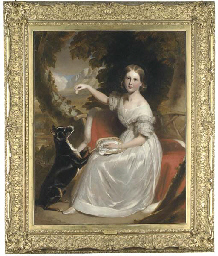 Portrait of Marianne Gage, full-length, seated on a red cloak trimmed with ermine, feeding a dog in a wooded mountain landscape