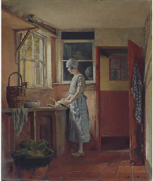 Kitchen interior (recto); and