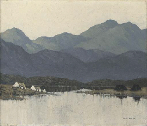 Cottages by a still lough