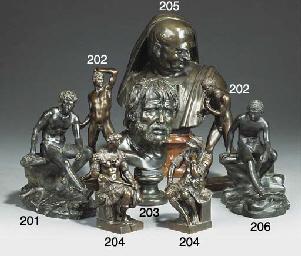 An Italian bronze bust of Sene
