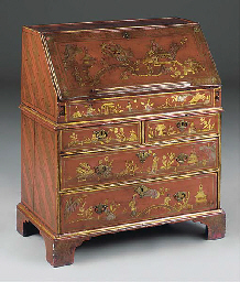 A RED LACQUER AND CHINOISERIE