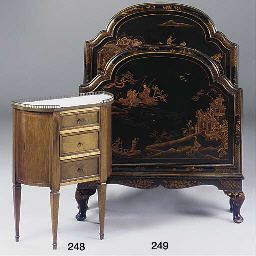 A FRENCH THREE-DRAWER MARBLE T