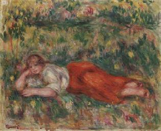 Femme en rouge et blanc couché