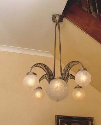 AN ART DECO HANGING LAMP