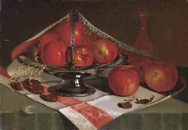 Still Life of Apples in a Silv