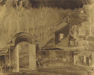 Manufactory gateway with trees
