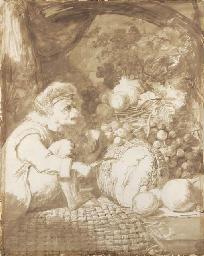 Un singe coupant une pastèque