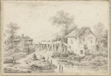 Un paysage avec une maison et